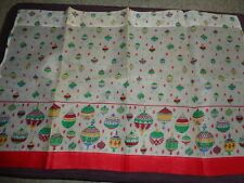 VINTAGE 1 PANEL CHRISTMAS ORNAMENT PATTERN CAFE CURTAIN