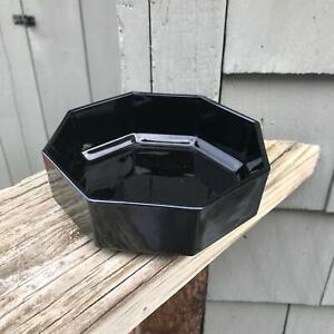 "1- 5.5"" Vintage 6 sided Black Bowl France Sexton Black Glass"