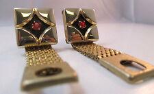 GOLD TONE DIAMOND SHAPE CUFFLINKS W/ BURNT ORANGE RHINESTONE & MESH **