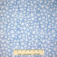 Christmas Fabric - Sleigh Ride White & Blue Snowflake Toss - Wilmington YARDS