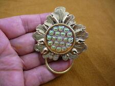 (#E-782) Pink green Czech Eyeglass pin id badge holder pendant