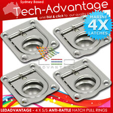 4 X STAINLESS STEEL ANTI-RATTLE BOAT STORAGE DOOR FLOOR HATCH FLUSH PULL RINGS