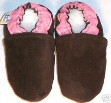 moxies leather soft SOLED BABY shoes SUEDE BROWN  2-3