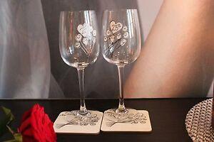 25th Wedding Anniversary Wine Glasses & Drinks Coaster Gift: Silver Anniversary