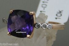 Solid 10k Pink Rose Gold Amethyst Diamonds Square Cushion Cut 9mm 3.1g Ring Sz7