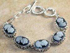 Silver Vintage Style Black Cameo Beauty Lady Cameo Oval Bracelet WB11205