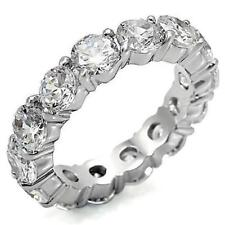 4 TCW .925 Silver Round Cut CZ Eternity Wedding Anniversary Ring Band Size 10