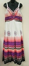 LONG COLOURFUL BEADED DRESS SIZE 14 - Suzannegrae