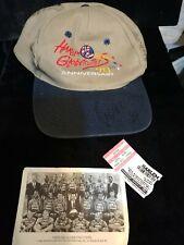 Harlem Globetrotters 70th Anniversary cap autographed w team pix & ticket stub
