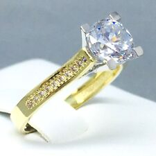 """STYLISH 9CT YELLOW GOLD CUBIC ZIRCON *SOLITAIRE* ENGAGEMENT RING SIZE """"P"""" 1838"""