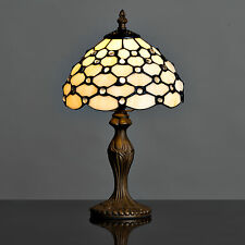 Cream Beaded Tiffany Style Stained Glass Table Lamp Bedside Light Lounge