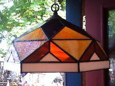 Plastic  Slag Glass Shade Hanging Lamp Art Deco
