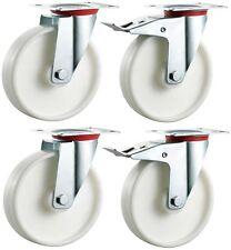 4x 100mm Nylon Castors Casters - Swivel & Braked - Non-Marking Wheels -Max 500kg