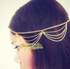 Golden Tassel chain headpiece forehead Hair band headband Dance Accessory AE