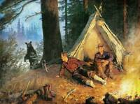 Hunters Camping Fire Tent Bear by Phillip Goodwin