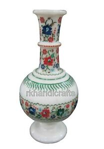 9 Inches Marble Flower Pot Handmade White Flower Vase with Multi Color Stones