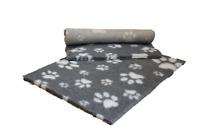 VETFLEECE Non Slip Deep Pile Fleece Vet Bed Roll Dog Cage Cat Grey White Paws