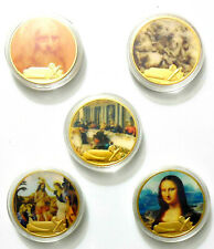 Da Vinci Mona Lisa Man in Red Last Supper Anghiari Baptism Gold Plated Coins