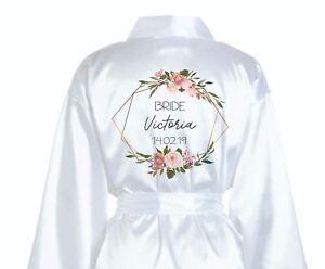 Personalised Bridal Party Wedding Robe - Silk Dressing Gown Bride - Geometric