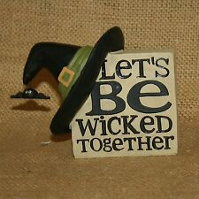 Witch Hat Sign Lets Be Wicked Together Halloween Resin Figurine Blossom Bucket