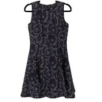 Ivanka Trump Dress Womens Size 4 Fit & Flare Purple Black Floral Sleeveless