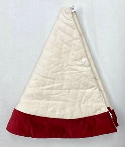 "NEW Pottery Barn Velvet 60"" Christmas Tree Skirt~Ivory w/Red Trim Cuff~NO MONO"