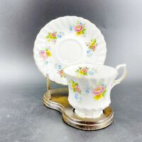 Vintage Queen Anne Teacup & Saucer English Bone China Gold Gilding Floral