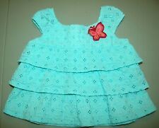 SONOMA GIRLS 12M AQUA SLEEVELESS RUFFFLE TOP BUTTERFLY 100% COTTON EYELET