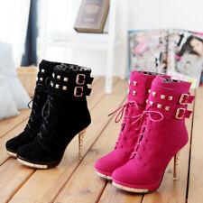 Sexy High Heels Stiefeletten, Plateau, Nieten, Schnürung, Pink und Schwarz