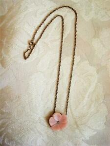 Vintage Avon Necklace Pink Lotus Blossom Flower Clear Rhinestone 17 1/2 In.