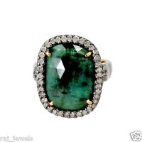 Diamond Pave Gemstone Emerald Ring Sterling Silver Antique Look 14k Gold Jewelry