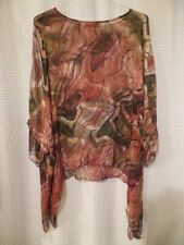 Sterling Styles Coral/Salmon Art To Wear Tunic Top O/S