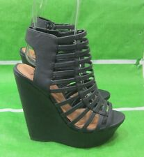 "new Black 5.5"" High Wedge Heel 2"" Platform Open Toe Strappy Shoes Size 8"