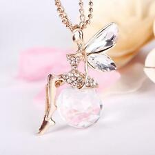 Casual Angel Wings Butterfly Crystal Necklace Long Sweater Chain Jewelry SF
