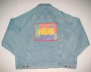 HBO Adult Unisex 90s Blue Yellow Orange Red Embroidered Denim Trucker Jacket XL