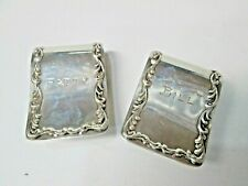 Antique S. Kirk Sterling Silver Napkin Clips #27 Monogram Patty Bill
