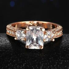 Large vintage style Rose Gold Square crystal ring SIZE 8   #R292