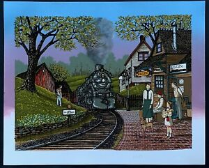 """H Hargrove 12"""" x 16""""  """"Elgin Train Station"""" Painting on Canvas, Limited Edition"""