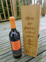 Personalised Engraved Wooden Wine Gift Box - Engagement / Wedding / Anniversary