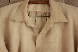 Silk shirt French 19th century RARE work wear w/ mends & mother of pear buttons