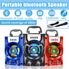 Bluetooth Party DJ Karaoke LED Speaker Rechargeable USB TF Portable With Mic