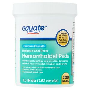 Equate Maximum Strength Medicated Cool Relief Hemorrhoidal Pads, 200 count+