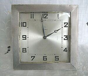 VINTAGE HM SILVER BANDED ART DECO MANTLE CLOCK (SEE CONDITION DESCRIPTION)