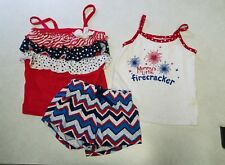 girls 4t 5t red white blue shorts strappy tank top star firecracker mommy's