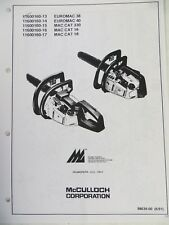 McCulloch EUROMAC 38 & 40,MAC CAT 330,MAC CAT 16 & 18 CHAINSAW Spare Parts List