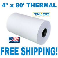 "(72) 4"" x 80' THERMAL PAPER ROLLS FOR ZEBRA RW / QL 420 PRINTERS ~FREE SHIPPING~"