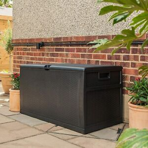 Large Rattan Storage Box 460L Outdoor Cushions Trunk Toys Chest Garden Furniture