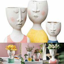 Creative Human Head Flower Vase Resin Portrait Plant Handmade Art Decorations