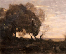 Art Oil painting Corot - Twisted Trees On A Crete Setting Sun canvas 36""