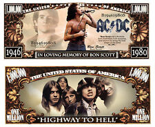 AC/DC - BON SCOTT! BILLET de COLLECTION MILLION DOLLAR US! ANGUS YOUNG Hard Rock